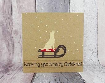 Golden Retriever Christmas card, Golden Retriever on a sled, Sleigh, Gun dog in the snow card, Handmade Christmas card from the dog
