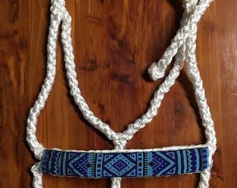 Beaded Mule Tape Halter-Light Blue/Dark Blue