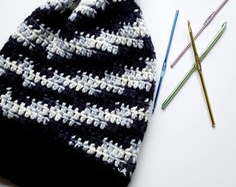 Adult Pom Pom Hat, Slouchy Winter Hat, Chunky Knit Crochet Hat, With Black Gray & White Variegated Yarn
