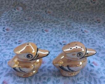 Vintage Japan Duck Bird Porcelain Ceramic Salt and Pepper Shakers