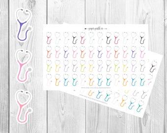 Multicolored Stethoscope Planner Stickers, Nursing School Planner Stickers