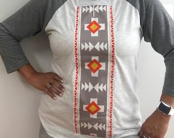 Southwestern Shirt Bohemian Native American Indian Aztec Navajo Ethnic Tribal Boho Embroidered Vintage Retro Hipster shirt