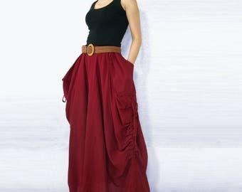 Lagenlook Maxi Skirt Big Pockets Long Skirt - in Red Cotton Long Skirt SK001