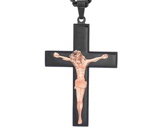 """Black Cross with Rose Gold-Tone Jesus Stainless Steel Crucifix Necklace Pendant, 18-24"""" Chain"""