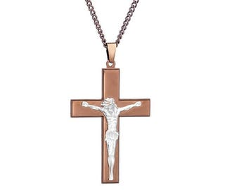 """Chocolate Brown-Tone Jesus Cross and Silver-Tone Crucifix Pendant in Stainless Steel,18""""- 24"""" Chain"""
