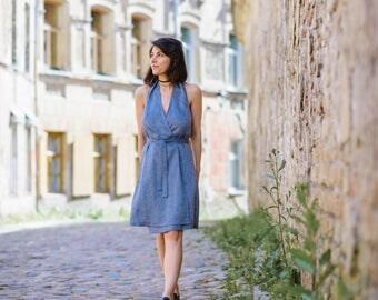 Handmade linen shirtwaist dress with open shoulders and back / shirt waist linen dress / linen dress