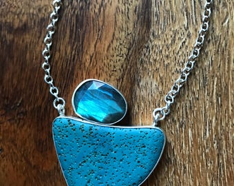 Leland Blue Slab with Rose cut Labradorite Necklace