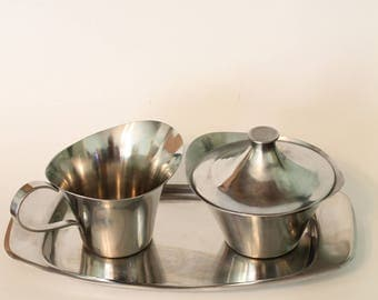 Vintage Stainless Steel Creamer and Sugar Set with Tray 18/8 Stainless