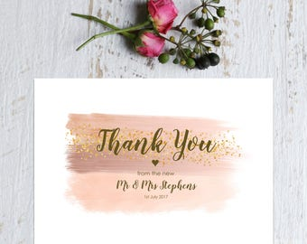 Personalised Wedding Thank you Card Pink Blush Watercolour Print with Gold - Thank you from the Bride & Groom - White Card 5x7 inch