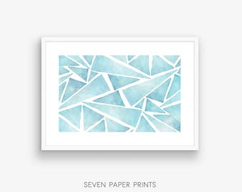 Watercolor print, Geometric art, Printable wall art, Geometric Watercolor, Painting, Triangular pattern, Blue Watercolor, Digital Background