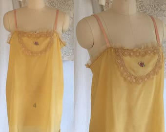 Vintage 1920's Yellow Crepe Slip -New with Tag