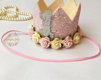 Pink birthday crown, first birthday outfit, glitter crown, cake smash outfit, birthday keepsake, birthday accessories, birthday ideas