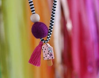Pink Rhinestone Popsicle - Children's Felt Ball Popsicle Tassel Necklace
