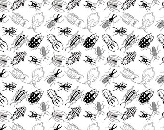 Beetles Black and White wrapping paper A1