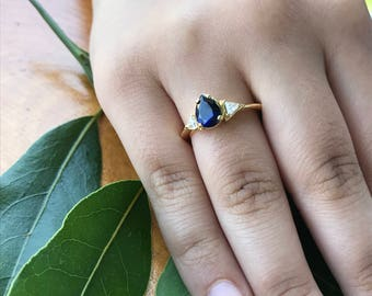 Rings, Yellow gold statement ring, Ring for Her, Teardrop ring, Sapphire Engagemet Ring, Triangle ring for women, Bridal ring, Promise ring