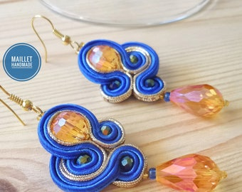 """Soutache Earrings, Handmade Earrings, Valentine's Gift, Soutache Jewelry, Model """"Radiant"""", Galentine's day Present for her, Love"""