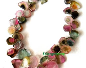 Amazing Brand new 6 inch strand Natural WATERMELON TOURMALINE Slices briolettes,Drilled slices, 5 -- 11 mm Approx[E3170]