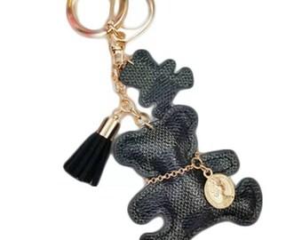 Lv inspired Black monogram teddy bear Keychain