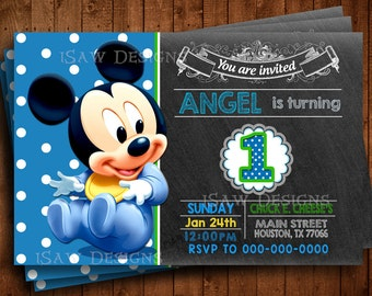 BABY MICKEY MOUSE Digital Personalized Invitations - Mickey Mouse First Birthday Party Invitations - Baby Mickey Mouse 1st Birthday Invites