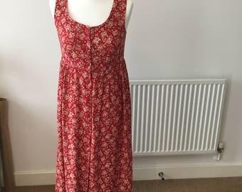 90s Red Print Button Down Maxi Dress