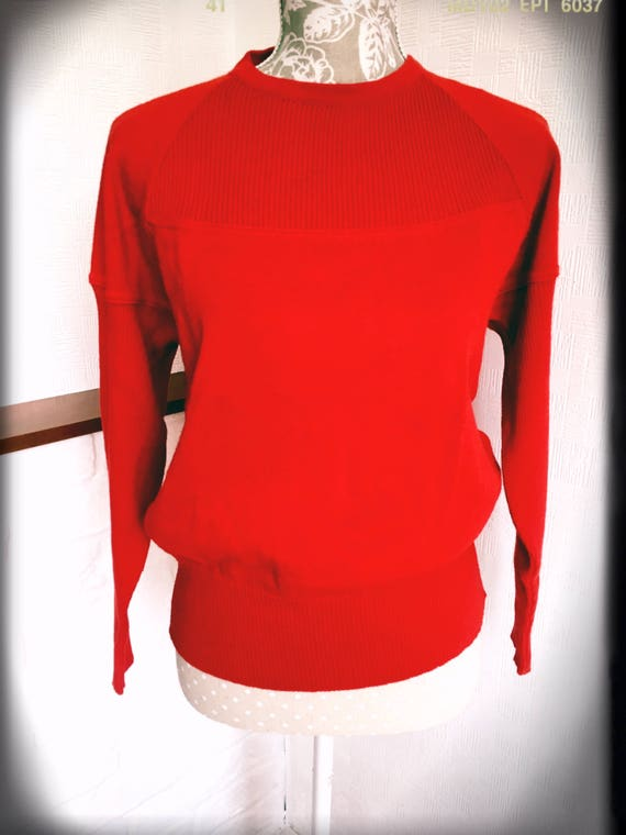 Vintage red sweater/French vintage/70's/ Made in