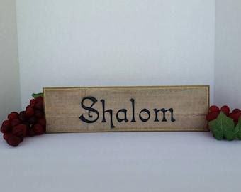 Shalom, Peace, Jewish art, wood sign