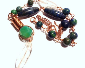 Copper Necklace Chrysocolla Green agate and rock crystal lapis lazuli
