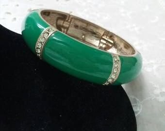 Green enamel and rhinestone bracelet