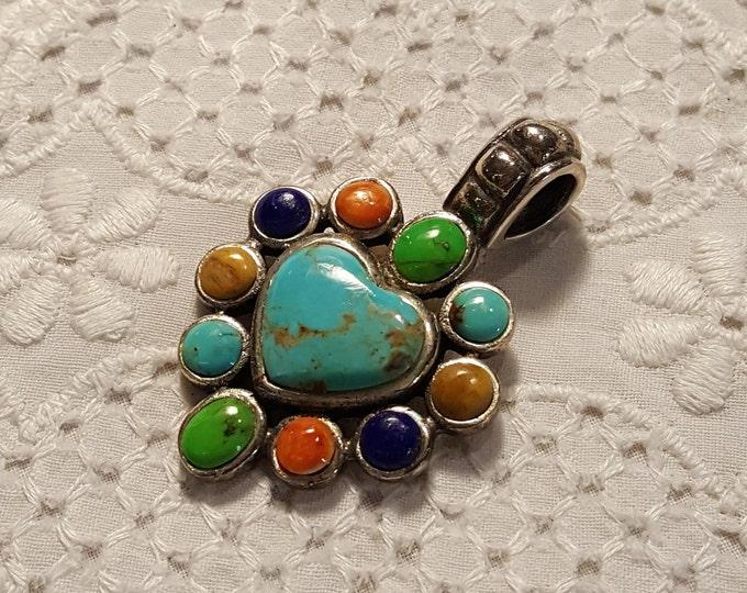 Vintage Gemstone Heart Sterling Pendant Gem Turquoise