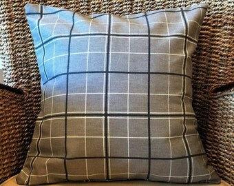 Decorative throw pillow cover, plaid pillow cover, accent pillow, grey pillow cover, modern pillow cover, cushion, 16 x 16 pillow cover