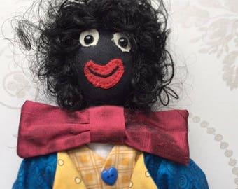 Handmade Clown Cloth Doll, handstitched OOAK collectors item