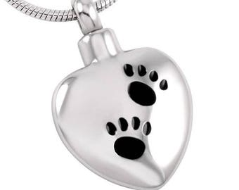 Paw Print Pet Cremation Pendant-Cremation Jewelry, Urn Necklace, Memorial Jewelry, Necklace for Ashes, Keepsake Jewelry