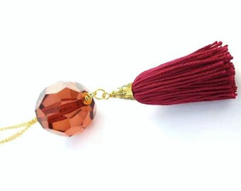 Tassel necklace. Red & gold