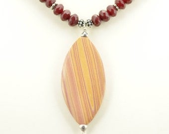 Hickoryite Pendant Cherry Quartz Necklace/Earring Set