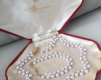 Vintage 1970's Signed Pierre Cardin 14K Gold Plate and Faux Pearl Demi Parure Necklace and Bracelet Set