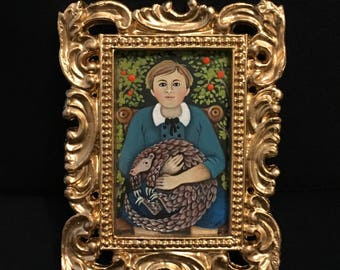 Boy with Pangolin - Miniature Acrylic Painting