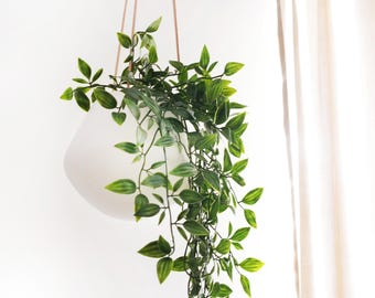 Minimalist plant hanger, ceramic and leather twine, modern home decor, handmade in france