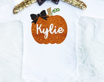 Baby Girl's Pretty Personalized Pumpkin Onesie - Thanksgiving Onesie - Halloween Onesie - Pumpkin Bow - Pumpkin Shirt - Fall Onesie