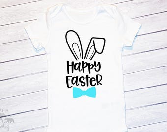 Baby Boy Easter Onesie, Happy Easter Shirt, Toddler Easter Outfit, My First Easter, Boys Easter Shirt, Boys Bunny, Boys Easter Bodysuit