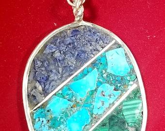 Sleeping Beauty Turquoise Lapis Lazuli Malachite Inlay Pendant