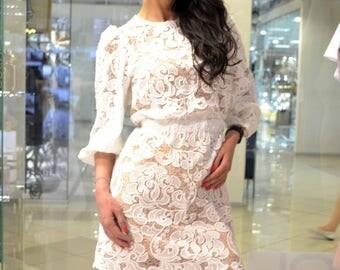 White dress lace - Short dress - Summer sarafan- Summer dress