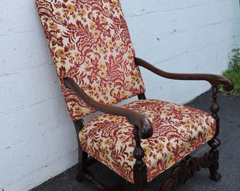 Early 1900s Tall Large Carved Mahogany Living Room Side Chair Queen Chair 7742