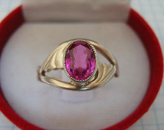 SOLID 925 Sterling Silver Rose Gold Plated Real Bright Red Pink Oval Ruby Corrundum Ring USSR Jewelry US size 7.5 Russian Ukrainian sz 17.75