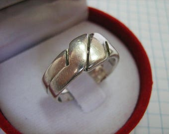 SOLID 925 Sterling Silver Ring Movable Moving 2 in 1 Knot Double US size 8 Russian Ukrainian size 18.25 Handmade Handicraft Manual Work