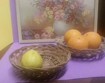 Vintage Woven Wicker Fruit Baskets (2)