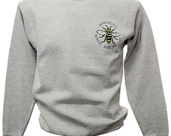 Grey Manc and Proud Manchester Bee Crewneck Sweater Jumper Front and Back Design (SW1) Produced in UK Sweatshirt Northern Vinyl Print Gym