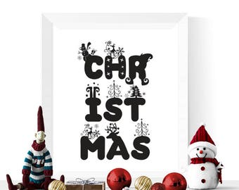 Christmas Printable Black | Christmas Typography Printable | Christmas Wall Art  | Black Christmas Decor | Christmas Printables