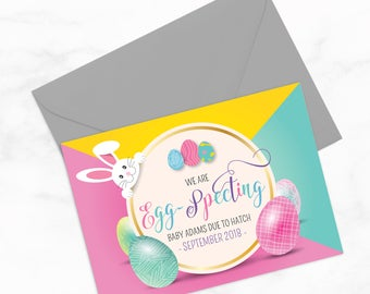 Egg-Specting PRINTABLE 5x7 Easter pregnancy announcement plus Instagram Post by Arbor Grace Collections