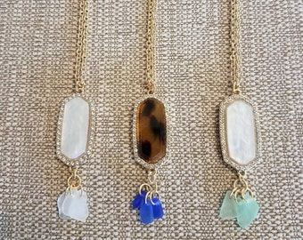 Long Sea Glass Cluster Necklace, Gold Tone Chain *FREE SHIPPING*
