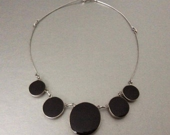 Double Sided Black & White Stone Necklace / Statement / Evening Wear